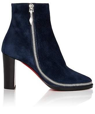 Christian Louboutin Women's Telezip Suede Ankle Boots - Marine, Bk lucido