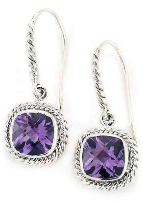 Samuel B Jewelry Sterling Silver Cushion-Cut Amethyst Milgrain Halo Drop Earrings