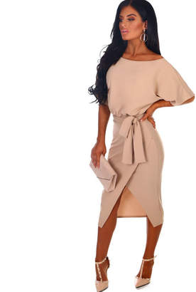 Pink Boutique Came Here For Love Stone Belted Wrap Front Midi Dress