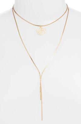 Ettika Rose Pendant Multistrand Necklace