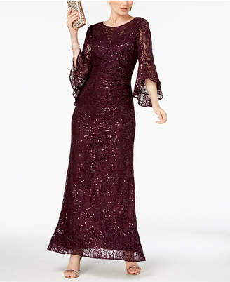Night Way Nightway Sequin-Embellished Lace Gown