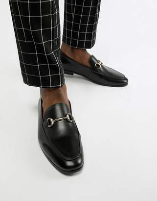 Office Italic bar loafers in black leather