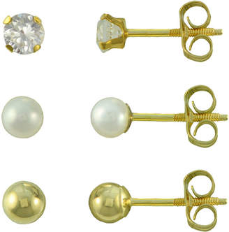 JCPenney FINE JEWELRY Girls Ball Stud 3-pr. Earring Set