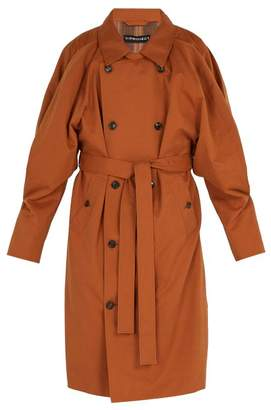 Y/Project Double Front Trench Coat - Mens - Brown