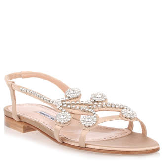 Manolo Blahnik Fernus Flat champagne satin crystal sandal