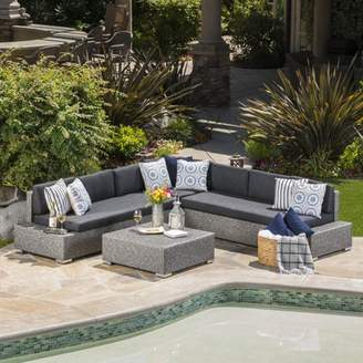 Noble House Cascada Outdoor 7 Seater Wicker V Shaped Sectional Sofa with Cushions, Mixed Black, Dark Grey