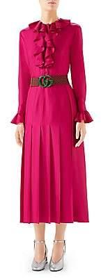 Gucci Women's Long Sleeve GG Belted Ruffle Dress