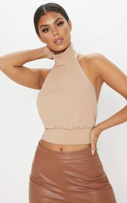 PrettyLittleThing Champagne Backless Halterneck Top