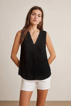 Velvet by Graham & Spencer DION RAYON CHALLIS RUFFLE SLEEVELESS BLOUSE