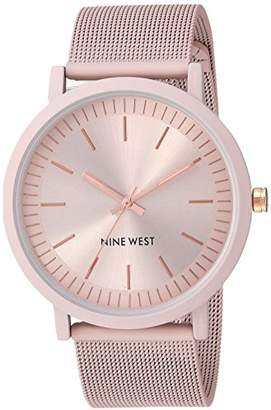 Nine West Women's NW/2166PKPK Rubberized Mesh Bracelet Watch