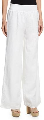 Neiman Marcus Pull-On Wide-Leg Linen Pants, White $99 thestylecure.com