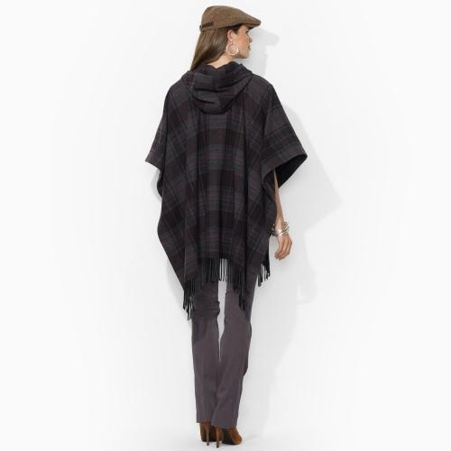 Ralph Lauren Hooded Plaid Wool Cape