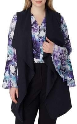 Arthur S. Levine Plus Drape-Front Pinstripe Vest