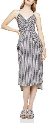 BCBGeneration Striped Faux-Wrap Midi Dress