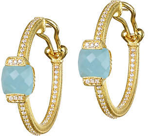 At Qvc Judith Ripka 14k Clad Milky Aquamarine Hoop Earrings