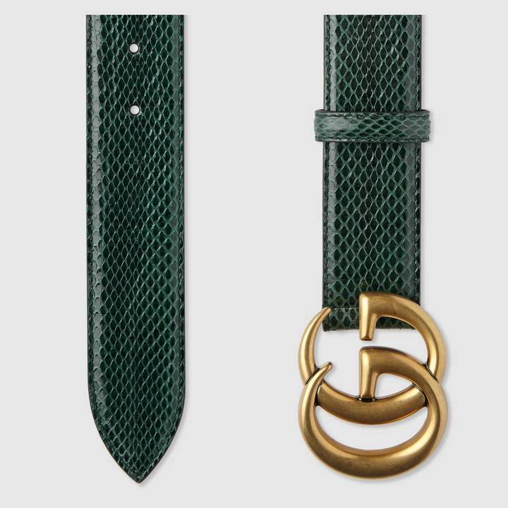 Leather belt with double G buckle 5