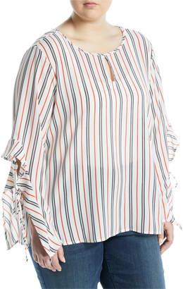 Kerrick Flare-Sleeve Striped Blouse, Plus Size