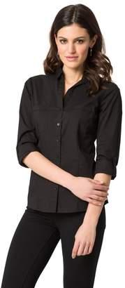 Le Château Women's Cotton Poplin Button-Front Blouse,L