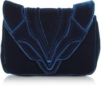 Elena Ghisellini Navy Blue Velvet Felix Clutch