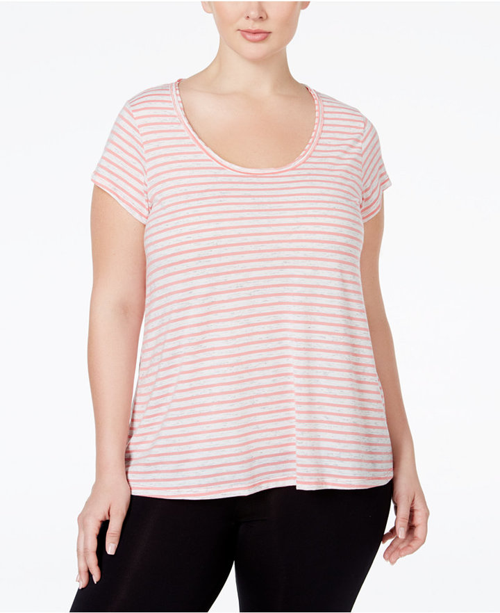 Calvin Klein Performance Plus Size Striped High-Low T-Shirt