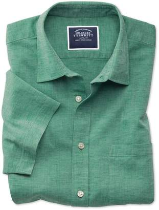 Charles Tyrwhitt Slim Fit Green Cotton Linen Short Sleeve Cotton Linen Mix Casual Shirt Single Cuff Size Small