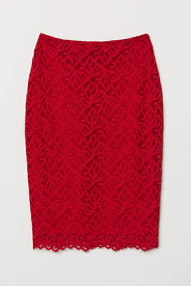 H&M Fitted Lace Skirt - Red