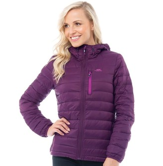 Trespass Womens Arabel Down Fill Padded Hooded Jacket Potent Purple