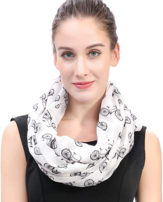 Lina & Lily Vintage Bicycle Print Women's Infinity Loop Scarf