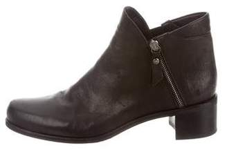 Stuart Weitzman Leather Round-Toe Ankle Boots