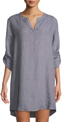 Allen Allen Linen Roll-Sleeve Tunic Dress