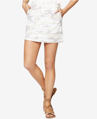 Sanctuary Cotton Camo-Print Released-Hem Skirt