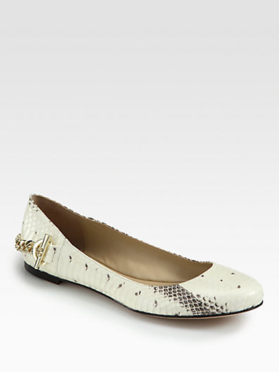 Rachel Zoe Laura Snake-Embossed Leather Ballet Flats