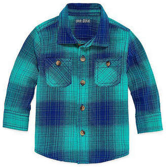 Okie Dokie Long Sleeve Plaid Button Front Shirt - Baby Boy NB-24M