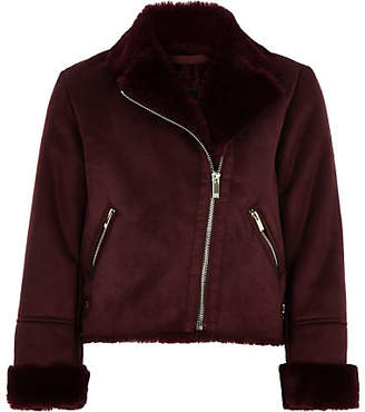 River Island Girls burgundy faux suede fur biker jacket