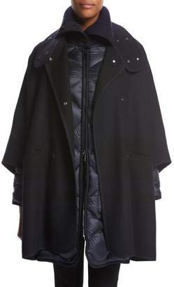 Moncler Dianthus Wool-Knit Cape W/ Puffer Jacket