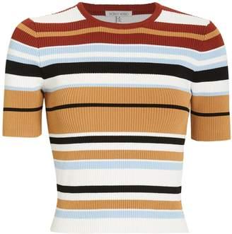 Ronny Kobo Valena Striped Rib Knit Top