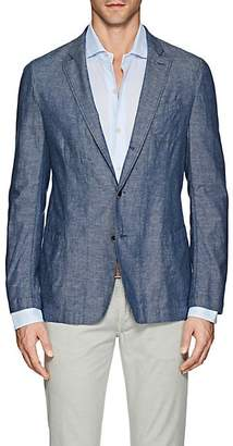 Barneys New York MEN'S COTTON-LINEN CHAMBRAY THREE-BUTTON SPORTCOAT - BLUE SIZE 46
