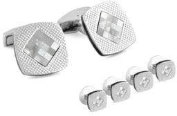 Tateossian Checkered Silver Mother-Of-Pearl Cuff Link& Shirt Stud Set