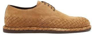 Bottega Veneta - Intrecciato Suede Derby Shoes - Mens - Camel