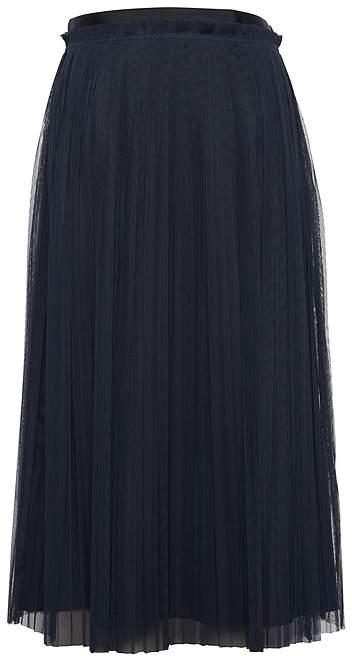 Petite Pleated Tulle Midi Skirt
