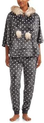 Secret Treasures Jammers Women's Polka Dot Faux Fur Trimmed Hooded Pajamas