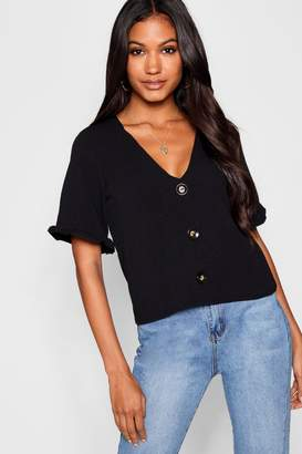 boohoo Button Down Frill Sleeve Top
