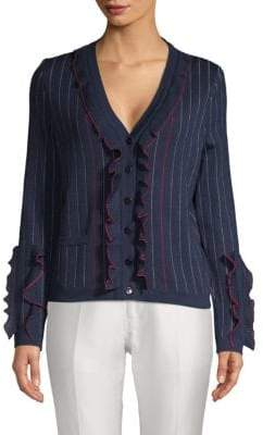 Carolina Herrera Ruffled Wool Button Cardigan