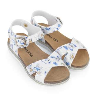 MonnaLisa MonnalisaWhite Floral Butterfly Sandals