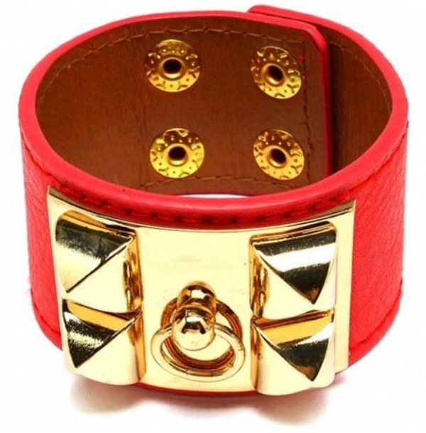 Tryst Style Studded Faux Leather Bracelet