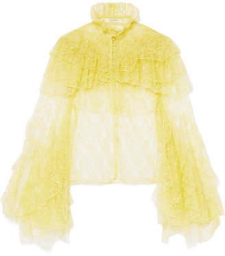Rodarte Ruffled Lace Blouse - Yellow