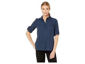 FDJ French Dressing Jeans Solid Blousing Ideal 3/4 Tab Up Sleeve Blouse