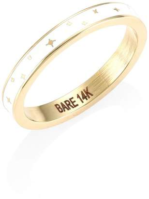 Bare Champleve White Enamel Ring