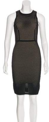 Line Perforated Knee-Length Dress