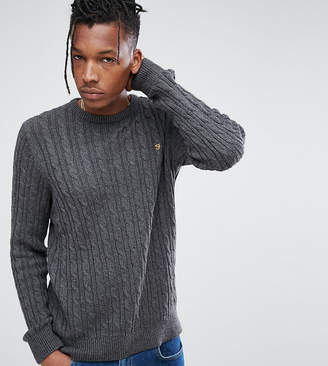 Farah Ludwig Cable Knit Sweater in Dark Gray Marl